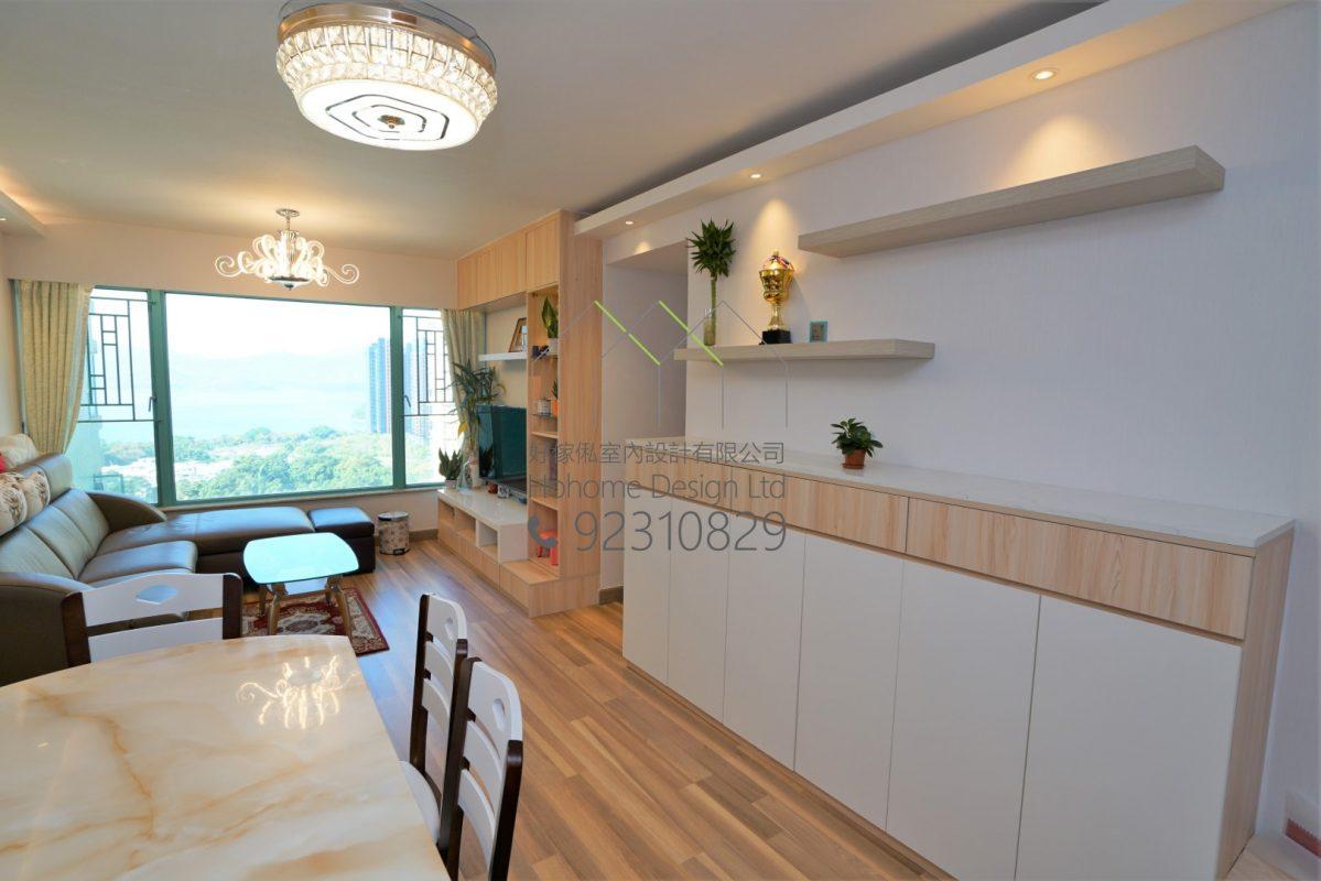 客人在客廳的訂造傢俬有: 客廳/ 客廳貯物櫃/ 鞋櫃/ 視聽組合 / 電視櫃