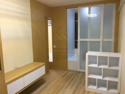 客人在客廳的訂造傢俬有: 房趟門/ 間房牆/ 間房櫃/ 活動透氣氣窗/ 視聽組合 / 電視櫃