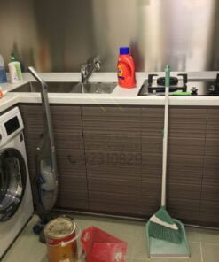 不生銹鋼背板/ 無縫石枱面/ 廚櫃/ L形廚櫃
