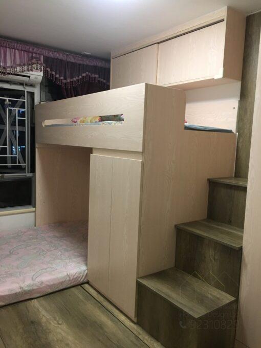 客人在睡房的訂造傢俬有: 電動升降檯/ 床/ 地台床/ 榻榻米/ 油壓床/ 組合床/上下床/碌架床/L形床/雙層床/ 上床下衣櫃/ 上3下4上下床