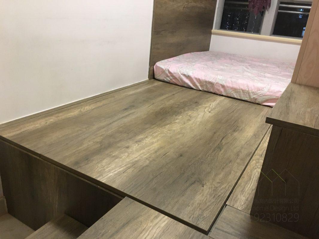 客人在睡房的訂造傢俬有: 電動升降檯/ 床/ 地台床/ 榻榻米/ 油壓床