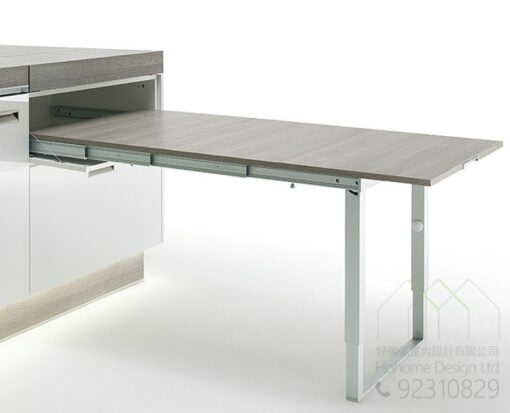 全不銹鋼伸縮餐枱五金,適合應用在訂造儲物櫃、廚櫃及伸縮枱或其他由我們設計師建議的訂造傢俬之上
