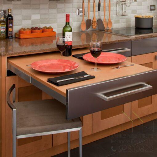 加長自動升降伸縮枱,適合應用在訂造儲物櫃、廚櫃及伸縮枱或其他由我們設計師建議的訂造傢俬之上