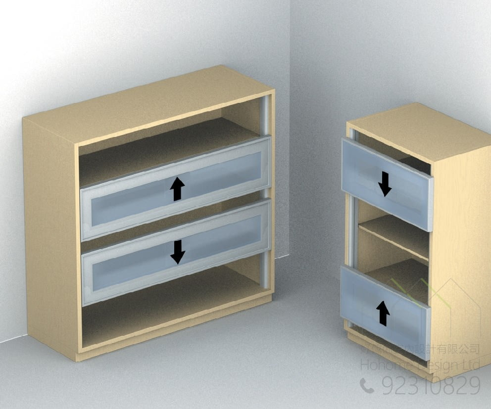 上下活動趟門系統打造隱藏式電視機櫃,適合應用在訂造電視櫃及書櫃或其他由我們設計師建議的訂造傢俬之上