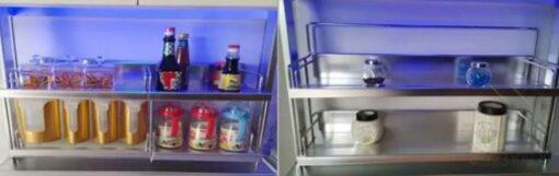 多功能電動升降拉籃活用廚房轉角空間,適合應用在訂造智能家居 / 智能家具及廚櫃或其他由我們設計師建議的訂造傢俬之上