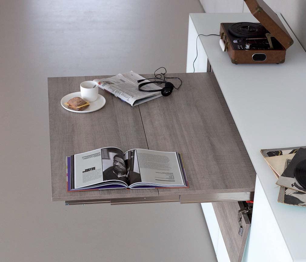 完美不佔空間的隱形前翻伸縮餐枱軌道,適合應用在訂造伸縮枱、儲物櫃及廚櫃或其他由我們設計師建議的訂造傢俬之上