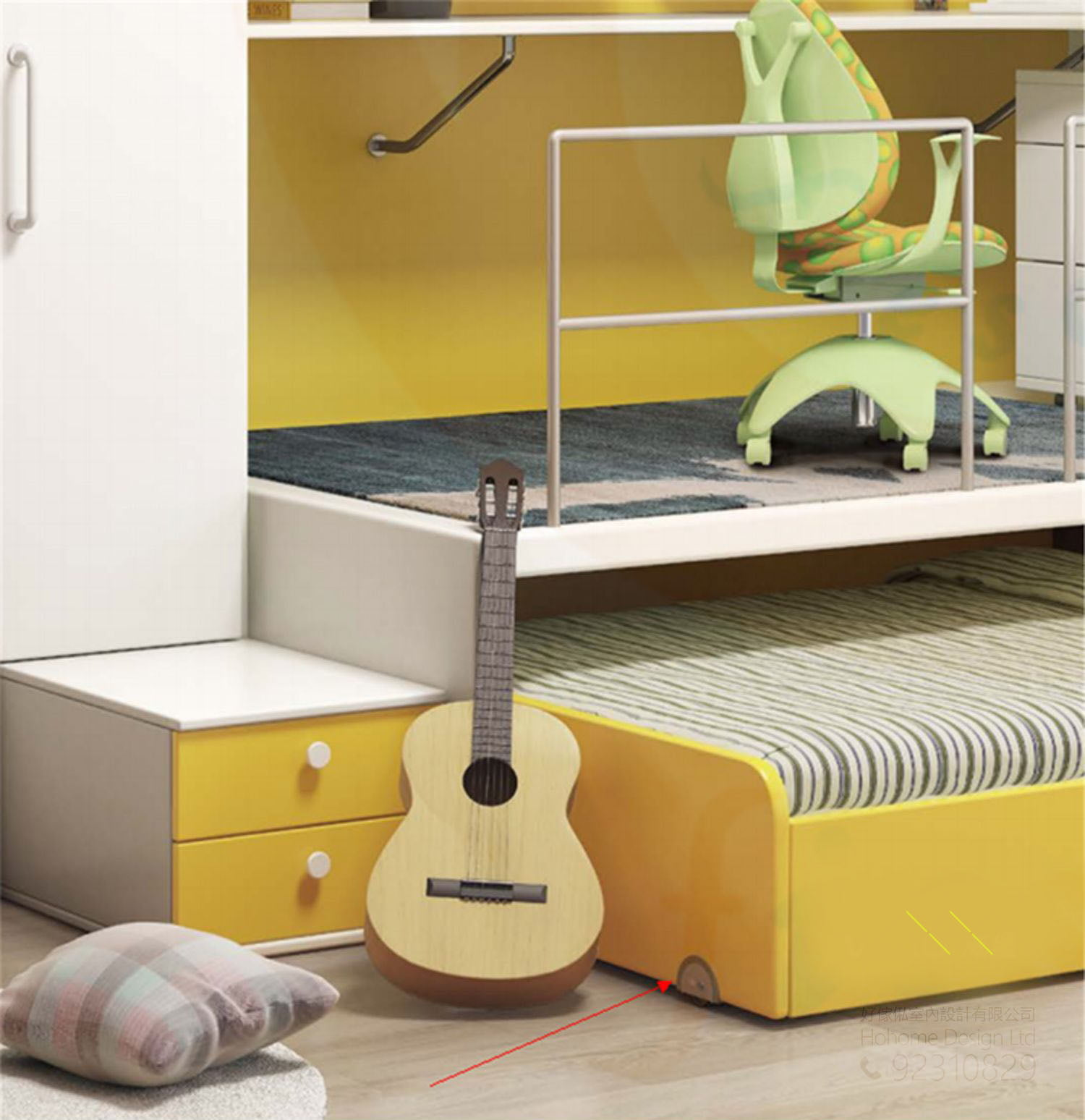子母床必備的嵌入式移動滑輪五金,適合應用在訂造書櫃、子母床、組合床 / 上下床 / 碌架床及儲物櫃或其他由我們設計師建議的訂造傢俬之上