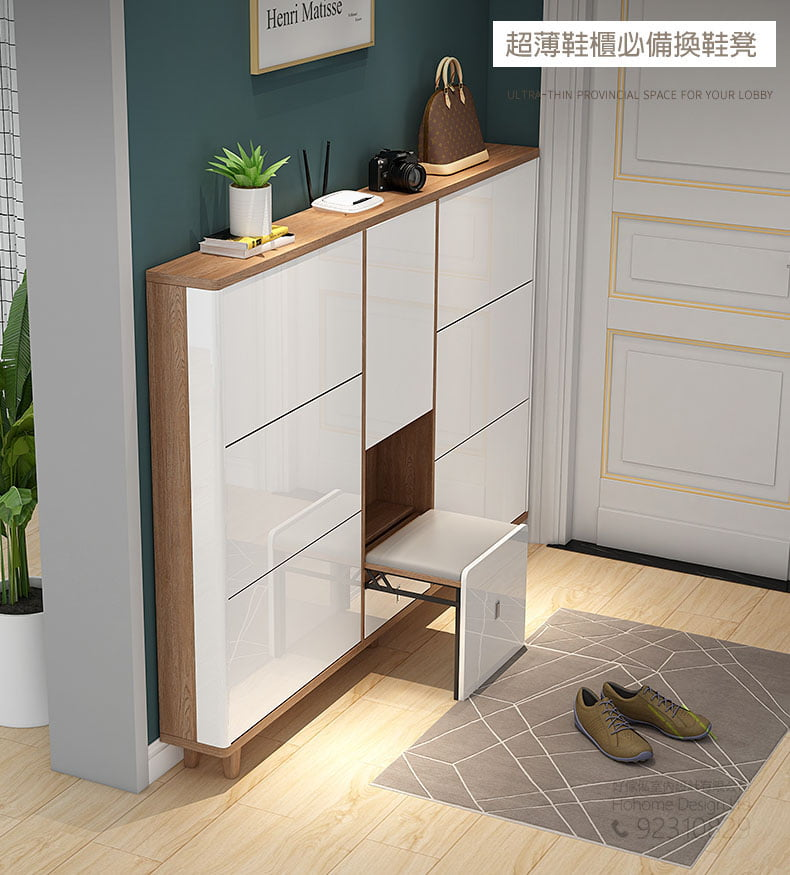 節省空間的玄關櫃隱藏式折疊換鞋凳,適合應用在訂造鞋櫃及換鞋凳或其他由我們設計師建議的訂造傢俬之上