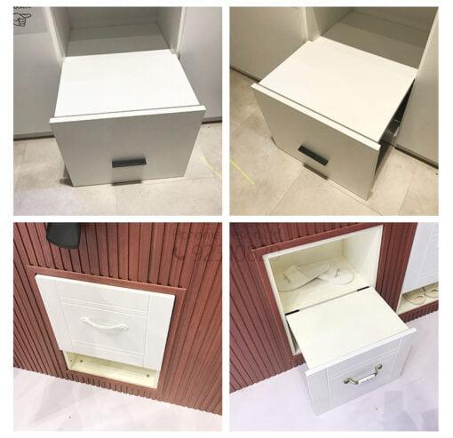 節省空間的玄關櫃隱藏式折疊換鞋凳,適合應用在訂造換鞋凳及鞋櫃或其他由我們設計師建議的訂造傢俬之上