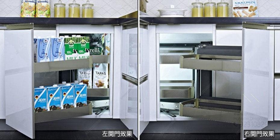 優質不锈鋼廚櫃轉角拉籃,適合應用在訂造廚櫃或其他由我們設計師建議的訂造傢俬之上