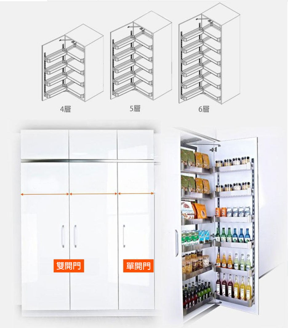 優質多層不锈鋼廚櫃高櫃拉籃,適合應用在訂造廚櫃或其他由我們設計師建議的訂造傢俬之上