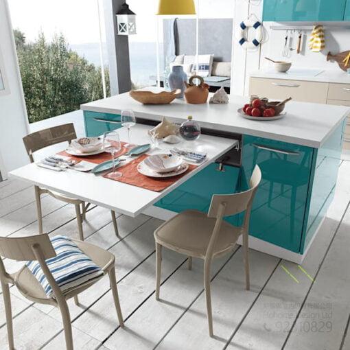 打造兩倍空間 多功能廚櫃中島台延伸桌移動滑軌,適合應用在訂造廚櫃及伸縮枱或其他由我們設計師建議的訂造傢俬之上