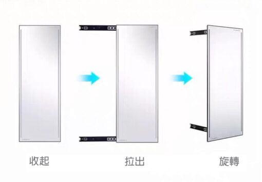 衣櫃用旋轉推拉智能LED燈試衣鏡,適合應用在訂造智能鏡、儲物櫃、智能家居 / 智能家具及衣櫃或其他由我們設計師建議的訂造傢俬之上