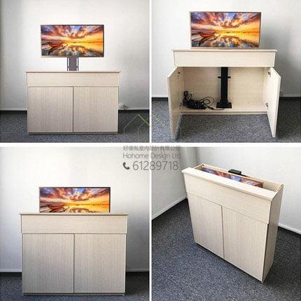 電視專用智能隱藏式電動升降支架,適合應用在訂造智能家居 / 智能家具及電視櫃或其他由我們設計師建議的訂造傢俬之上
