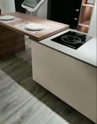 開放式廚房側推式中島島台延伸軌道,適合應用在訂造廚櫃或其他由我們設計師建議的訂造傢俬之上