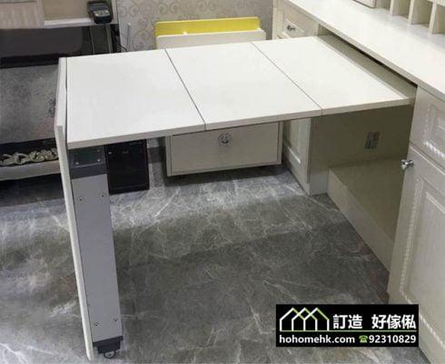 多功能廳櫃平推隱形伸縮餐枱軌道五金,適合應用在訂造儲物櫃、廚櫃及伸縮枱或其他由我們設計師建議的訂造傢俬之上