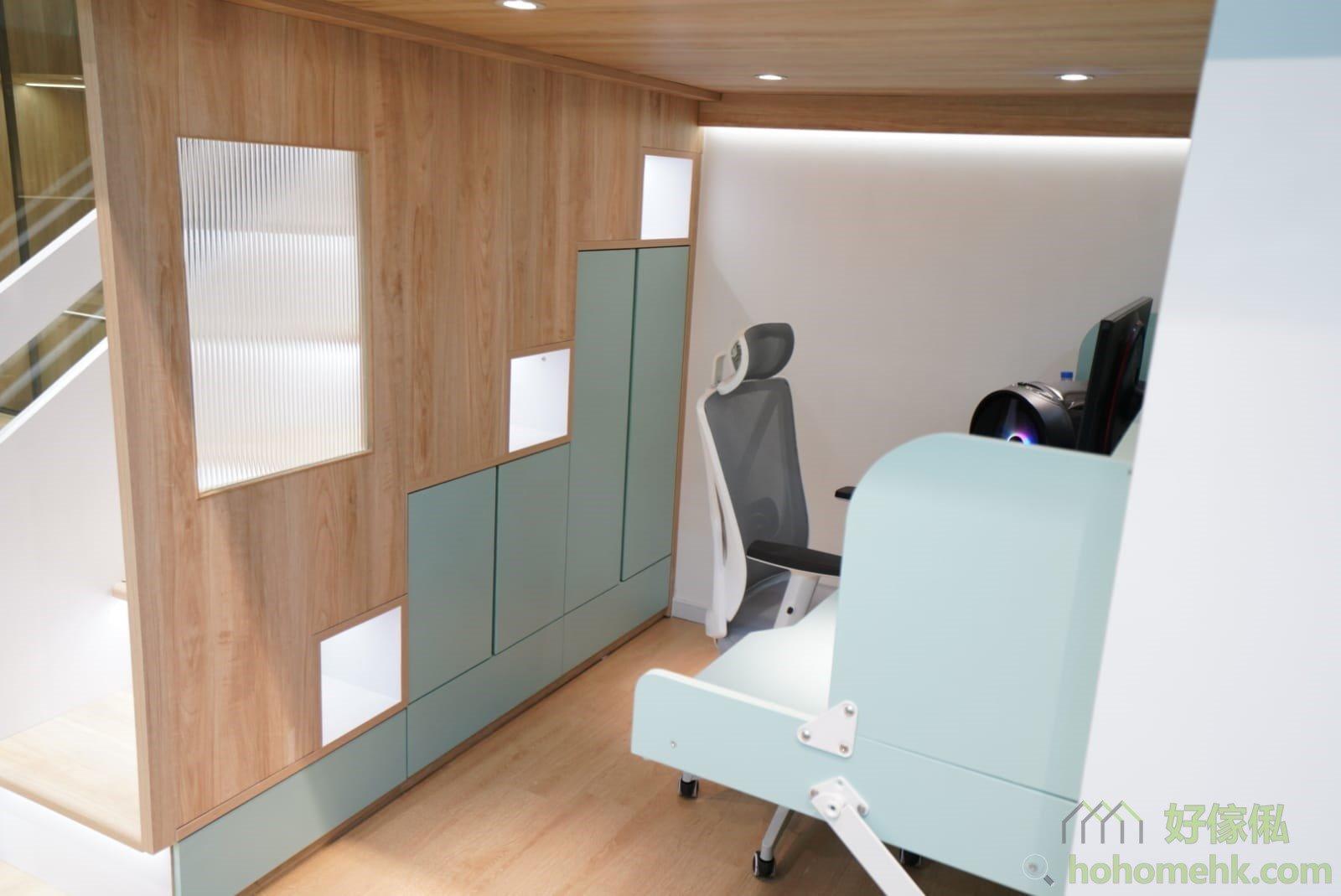 屋仔床看點:長虹玻璃、樓梯儲物櫃、開放式層格、衣櫃、櫃桶、樓板射燈
