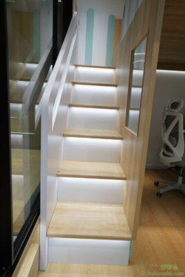 屋仔組合床看點:樓梯櫃踏板射燈、踏板圓角、圓角扶手、扶手燈