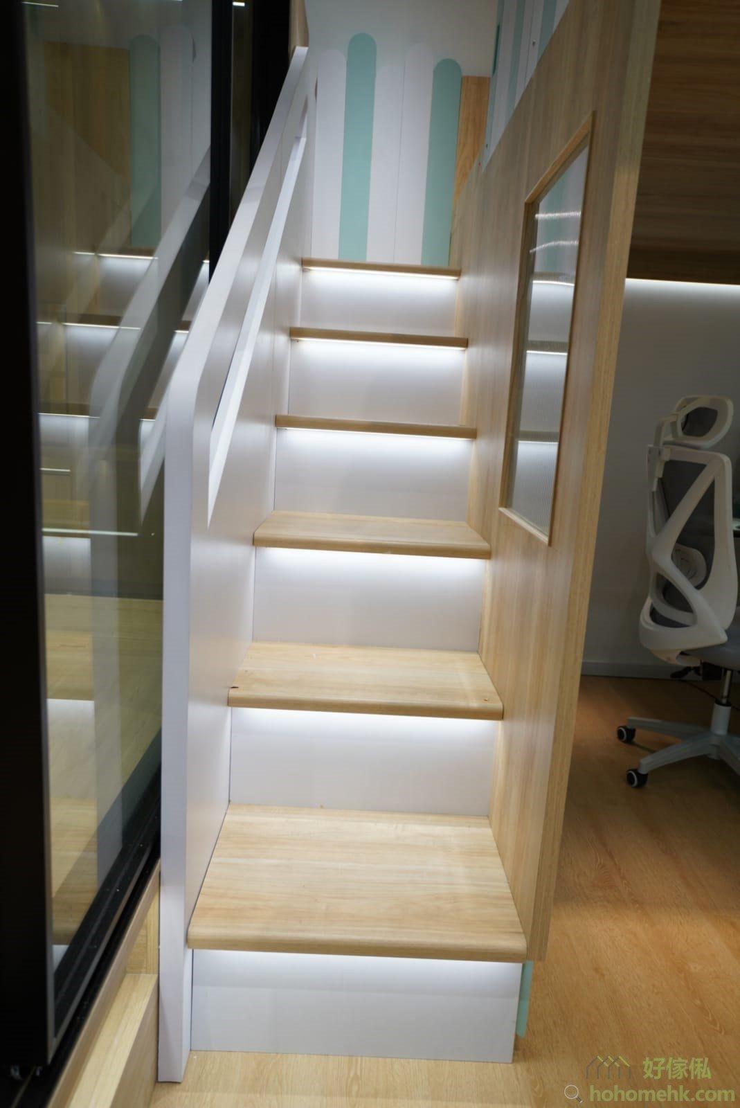 屋仔床看點:樓梯櫃踏板射燈、踏板圓角、圓角扶手、扶手燈
