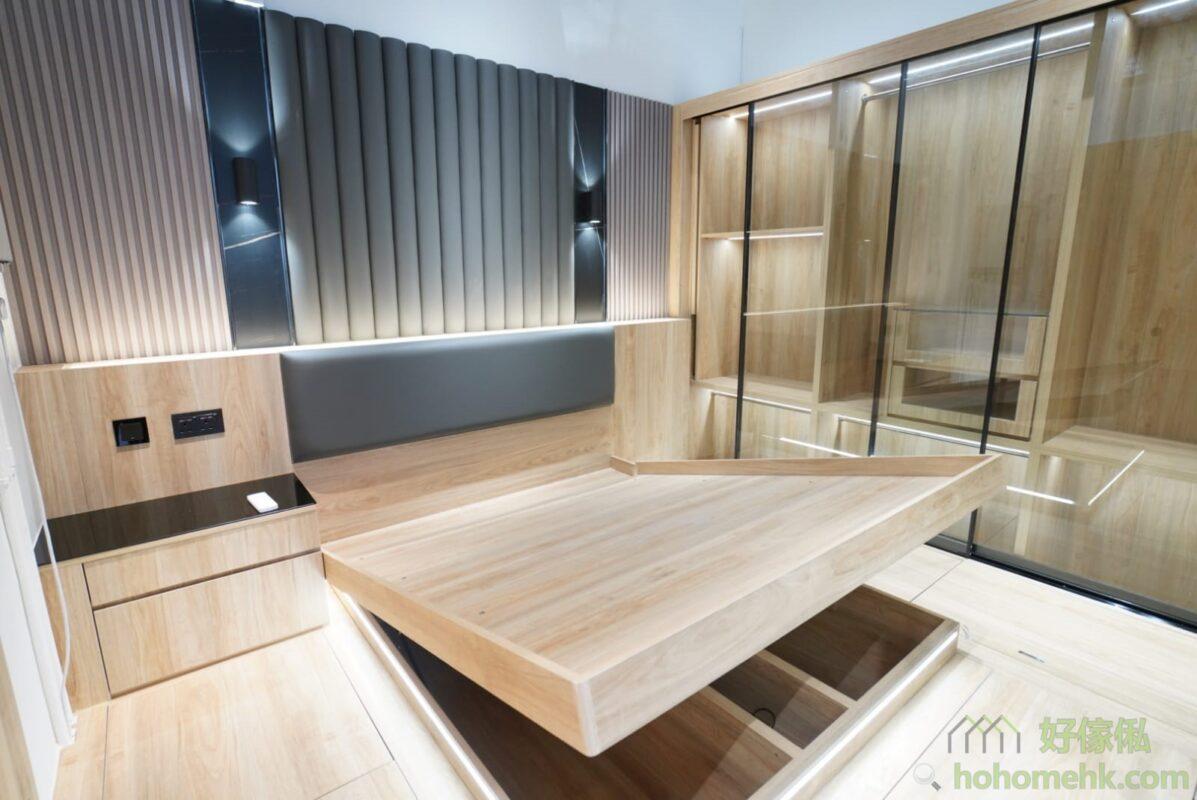 油壓床連衣櫃,營造出酒店的風格。