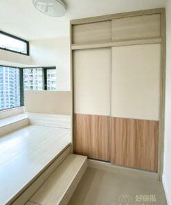 半地台睡房, 地台床連衣櫃設計, 混合板材令衣櫃門化身另類特色牆