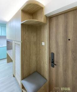 實用性與美觀兼備的玄關櫃, 將換鞋櫈融入玄關櫃
