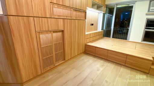 客廳儲物櫃/電視櫃/鞋櫃/飾櫃連地台, 自然色調很適合香港細小的居住環境,家裡洋溢著自然舒服的氣息,有助放鬆心情,並且令空間感倍增