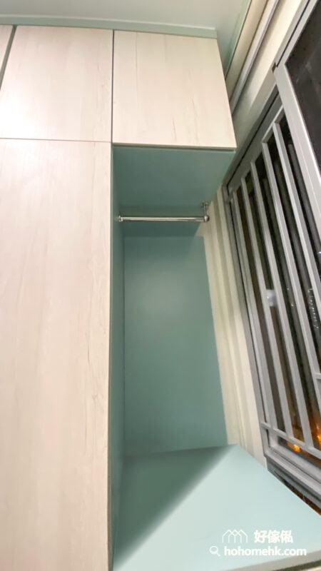 睡房的上下床, 碌架床連衣櫃和書枱, 訂製T字衣櫃用盡每一吋空間