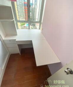 兒童房的上下床,碌架床連衣櫃,吊櫃及窗台書枱,劃出充足的學習空間