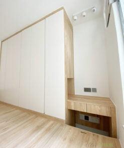 睡房地台床連衣櫃及梳妝枱, 保留角落位置做梳妝枱