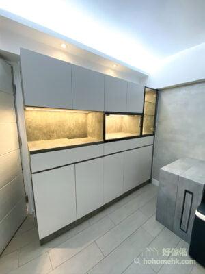 灰色石紋的客廳櫃/C字櫃/玄關櫃