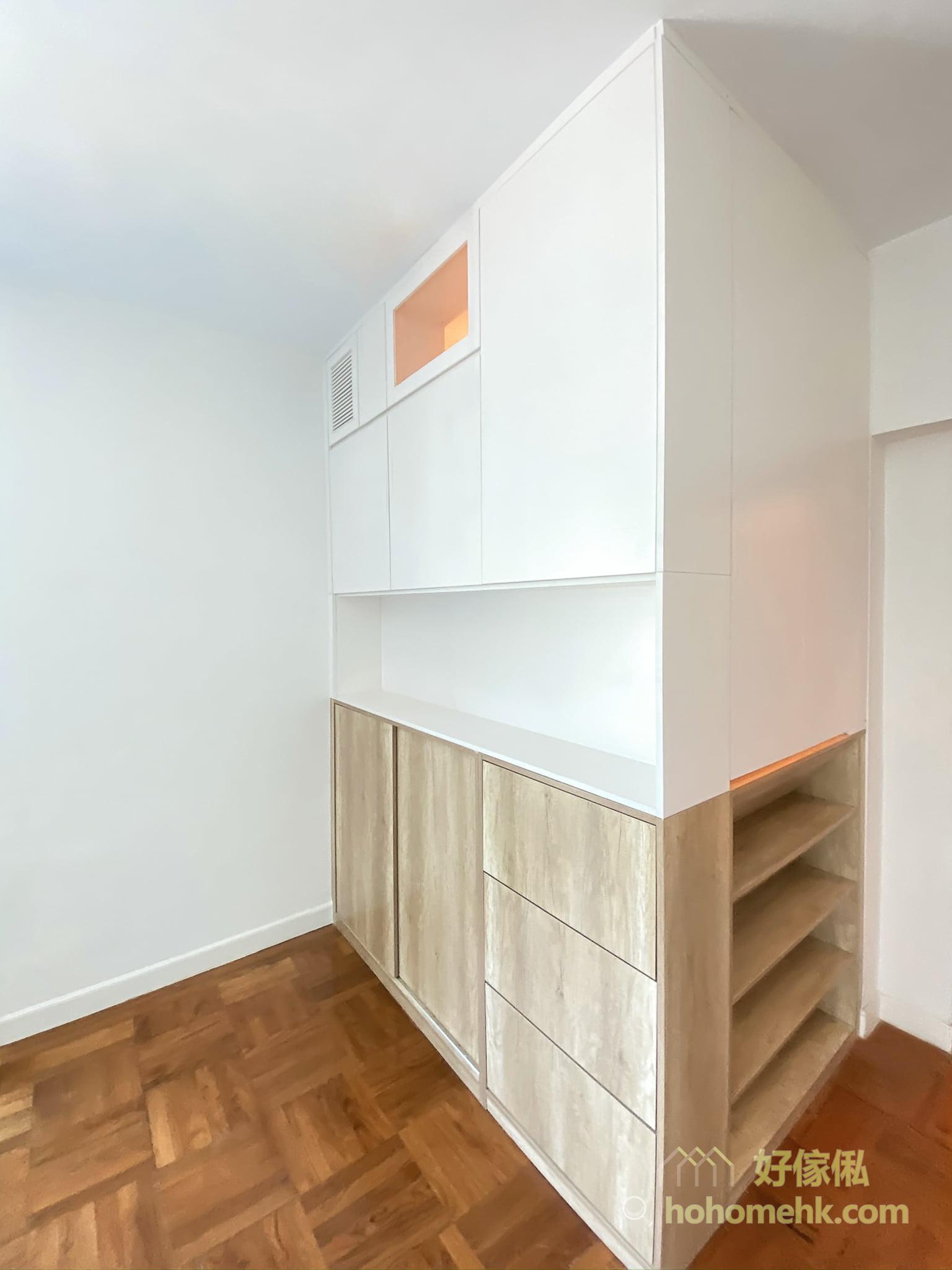 客廳櫃連工人房, 提供大量儲物空間
