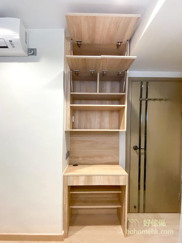 一張客廳和睡房都適合的書枱, 將儲物空間向上移
