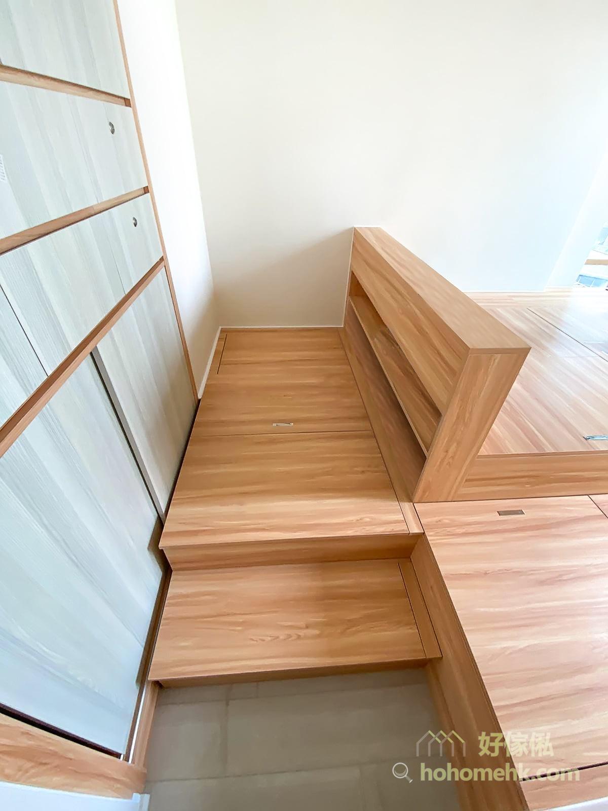 睡房的地台床連衣櫃床頭櫃