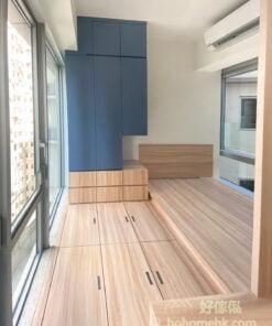 半開放式的睡房, 挖空衣櫃一角, 闢出床頭櫃空間