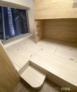 全房地台將地面水平提高至跟窗台相約的位置,令房間的空間感更寬敞