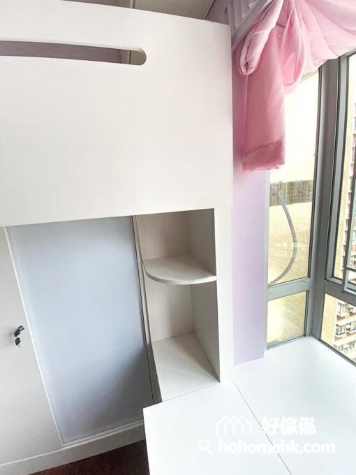 兒童房的上下床,碌架床連窗台書枱,適量的展示空間可成為孩子的創意舞台