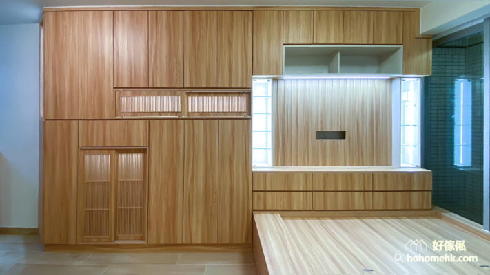 客廳儲物櫃/電視櫃/鞋櫃/飾櫃連地台, 大型組合櫃的幾何美感
