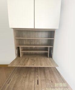 睡床床尾的儲物櫃, 有下翻式櫃門