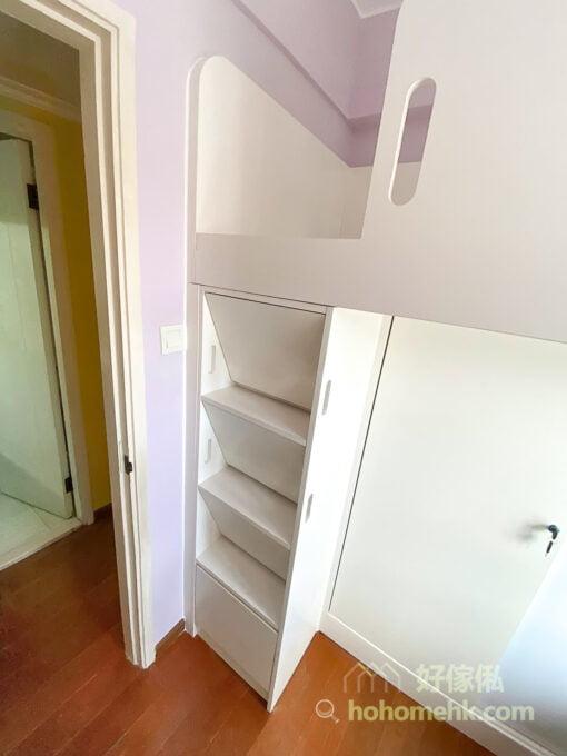兒童房的上下床,碌架床連衣櫃,吊櫃及窗台書枱