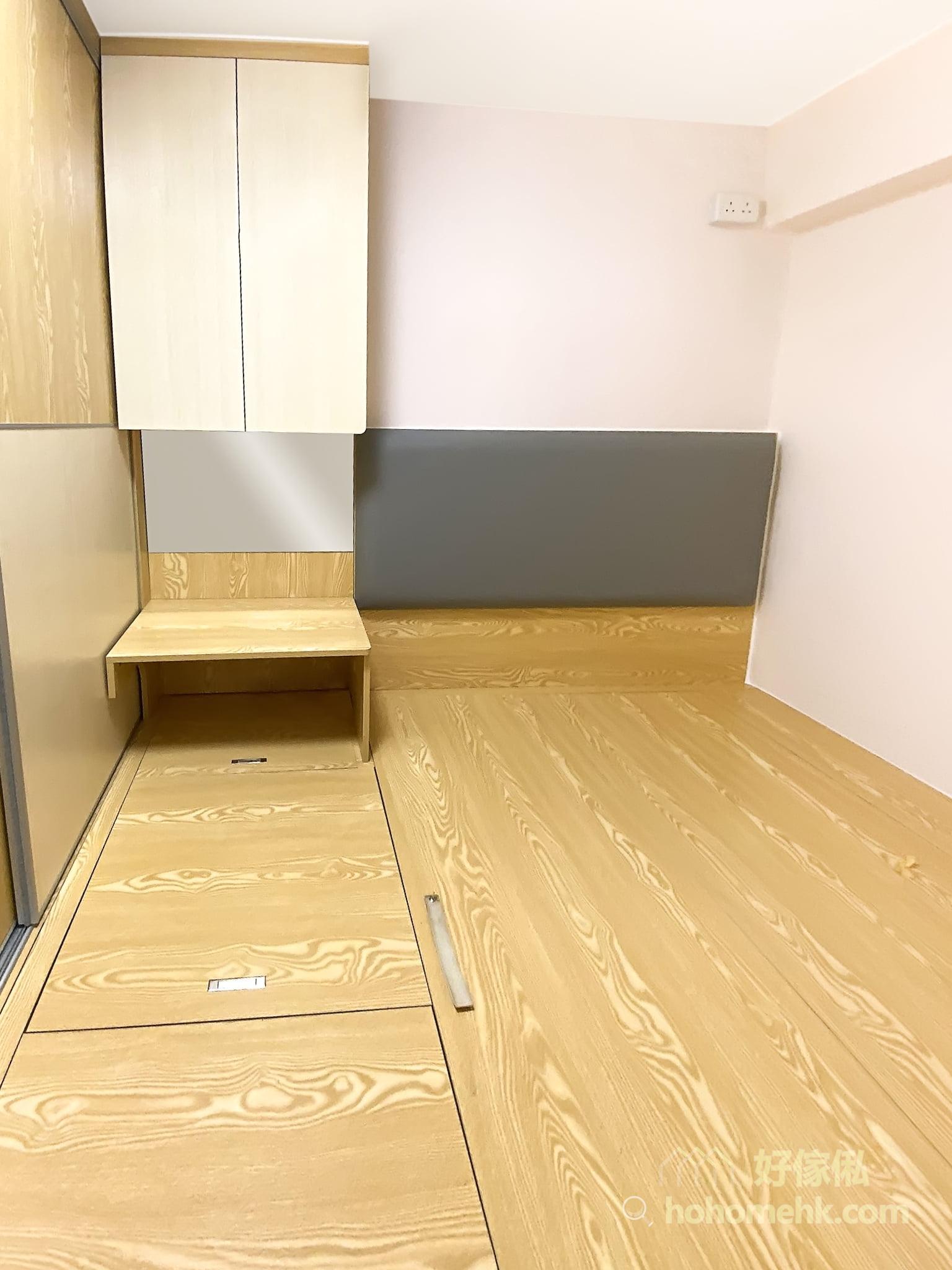 睡房地台床連梳妝枱及衣櫃, 結合設計能夠節省空間