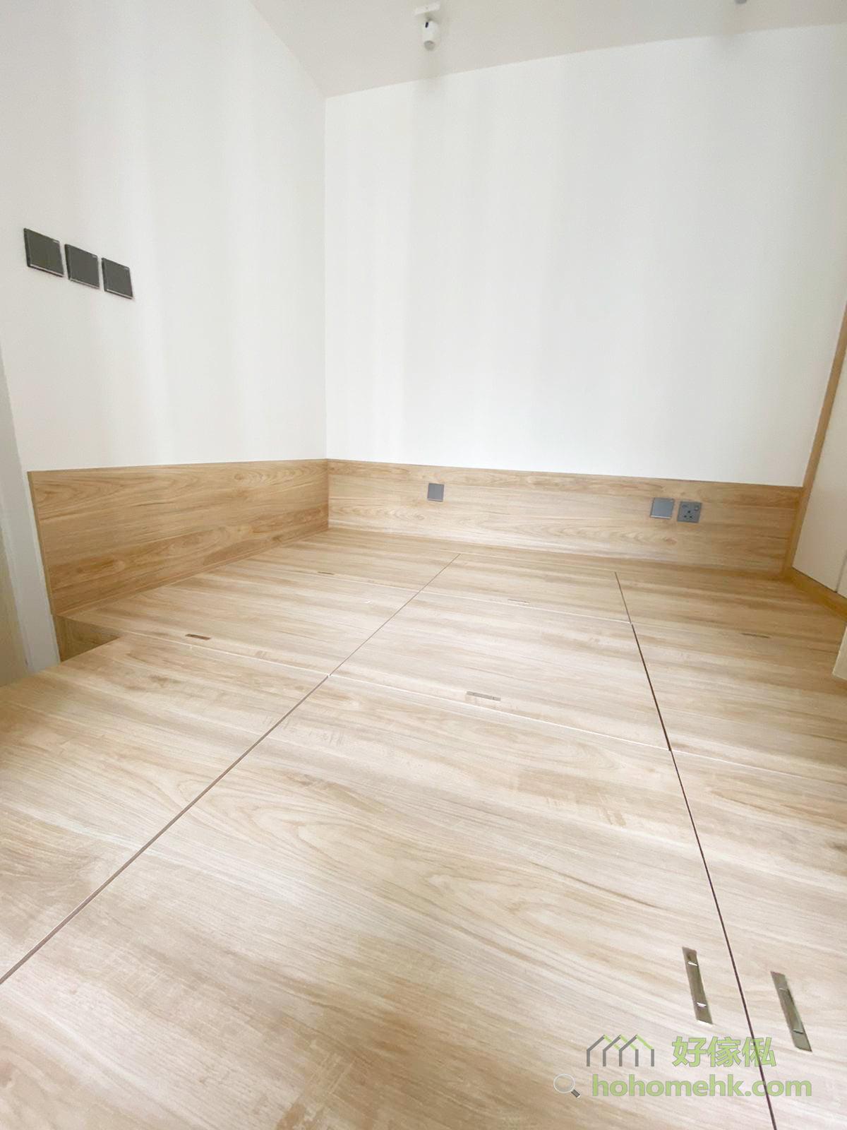 睡房地台床連衣櫃及梳妝枱, 提供大量收納空間
