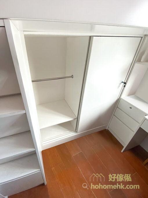 兒童房的上下床,碌架床連衣櫃, 矮身衣櫃讓孩子養成自己收拾衣服的好習慣
