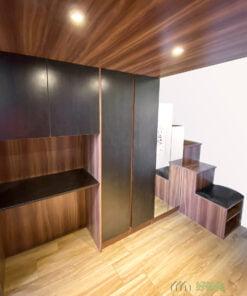 客廳特色閣樓, 玄關櫃及樓梯收納櫃一體成形