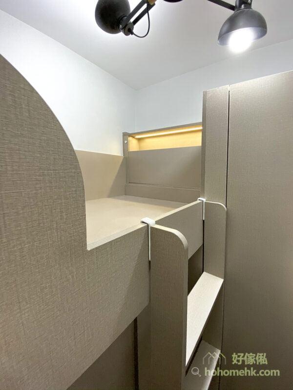 上床下衣櫃, 圓角設計可避免撞傷