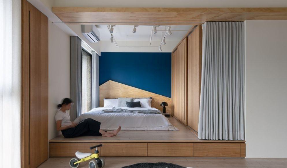 半開放式睡房以地台劃分獨立小區域