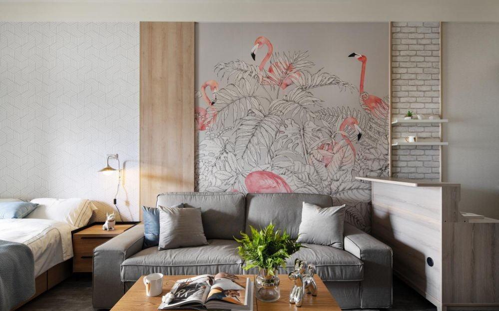 色彩圖案豐富的特色牆紙,施工方便及容易更換