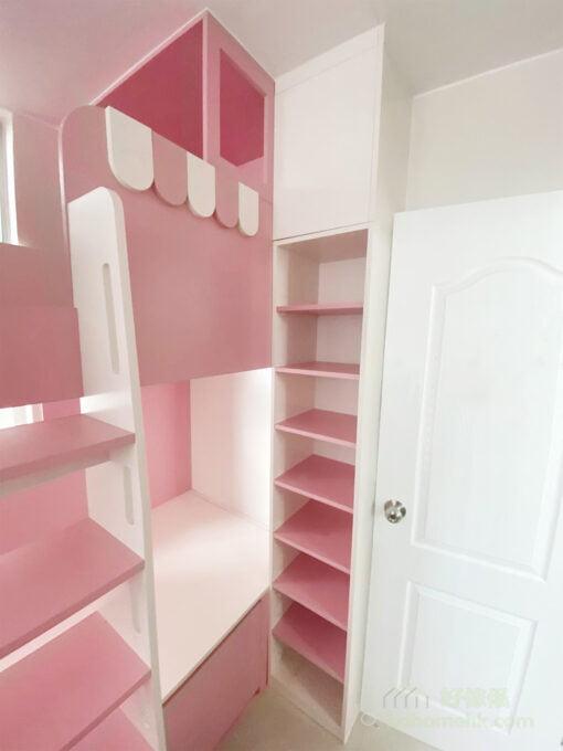 粉紅色與白色組成最夢幻的組合床/碌架床/上下格床, 一個可以好好收藏書本的書櫃,是養成小朋友閱讀習慣的好伴侶
