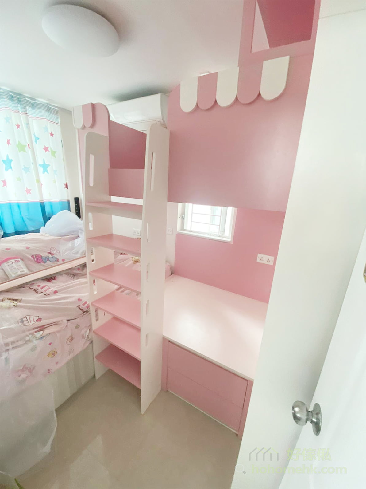 粉紅色與白色組成最夢幻的組合床/碌架床/上下格床