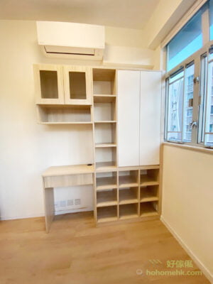 想空間不會因書櫃而變得呆板,可以配合書枱、展示櫃或C字櫃做成複合式設計